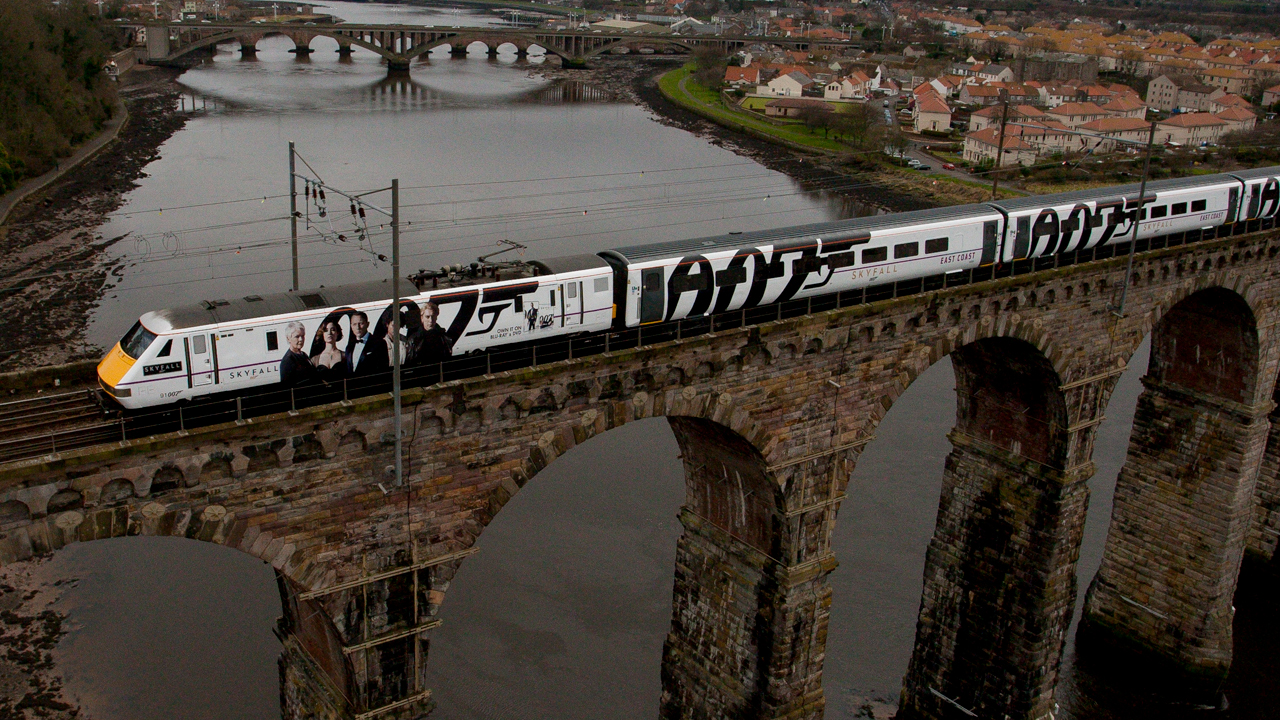 Photo of the James Bond Skyfall Train over a bridge