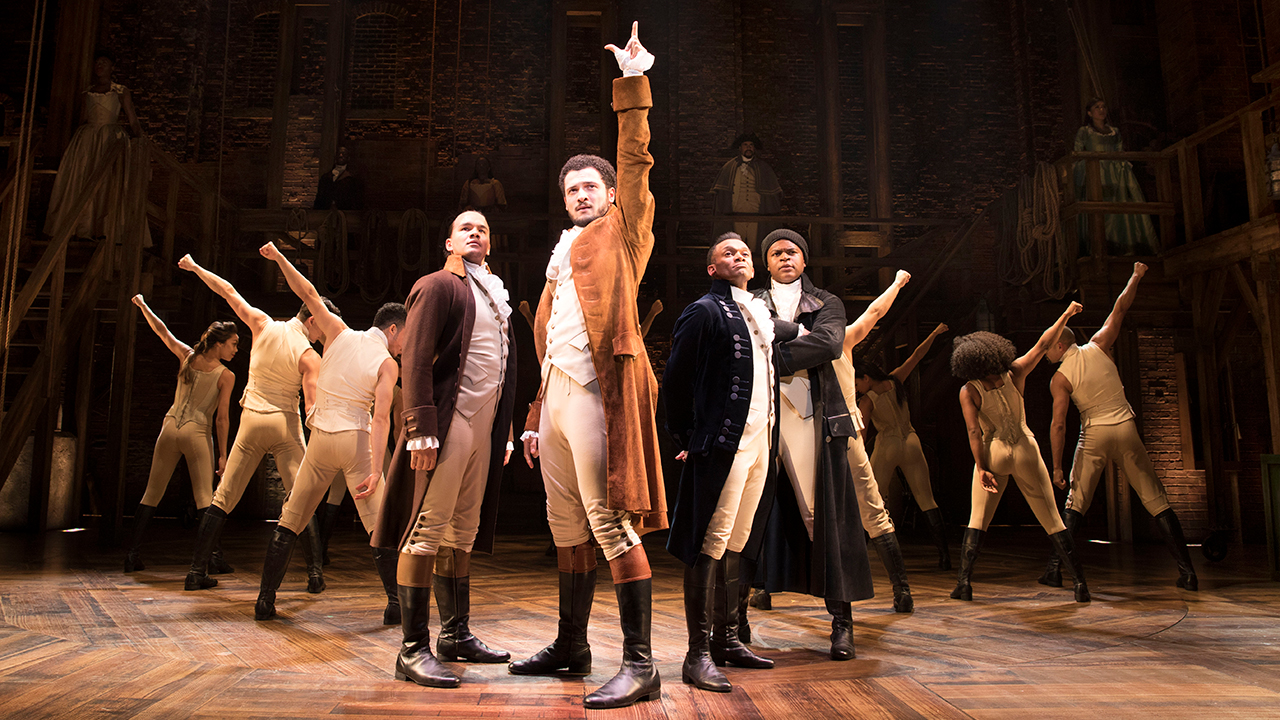 Hamilton, Theatre image, from left to right Cleve September as Laurens, Jamael Westman as Hamilton, Jason Pennycooke as Lafayette & Tarinn Callender as Mulligan.
