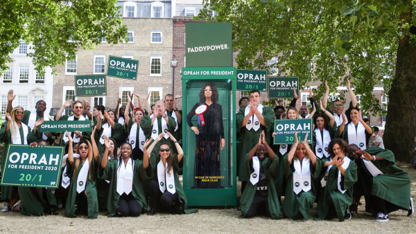 Paddy Power - Oprah 2020,  wax figure 2018 stunt with gospel choir
