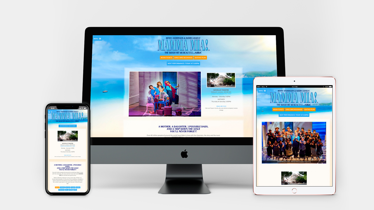 MAMMA MIA! Website device screen demos