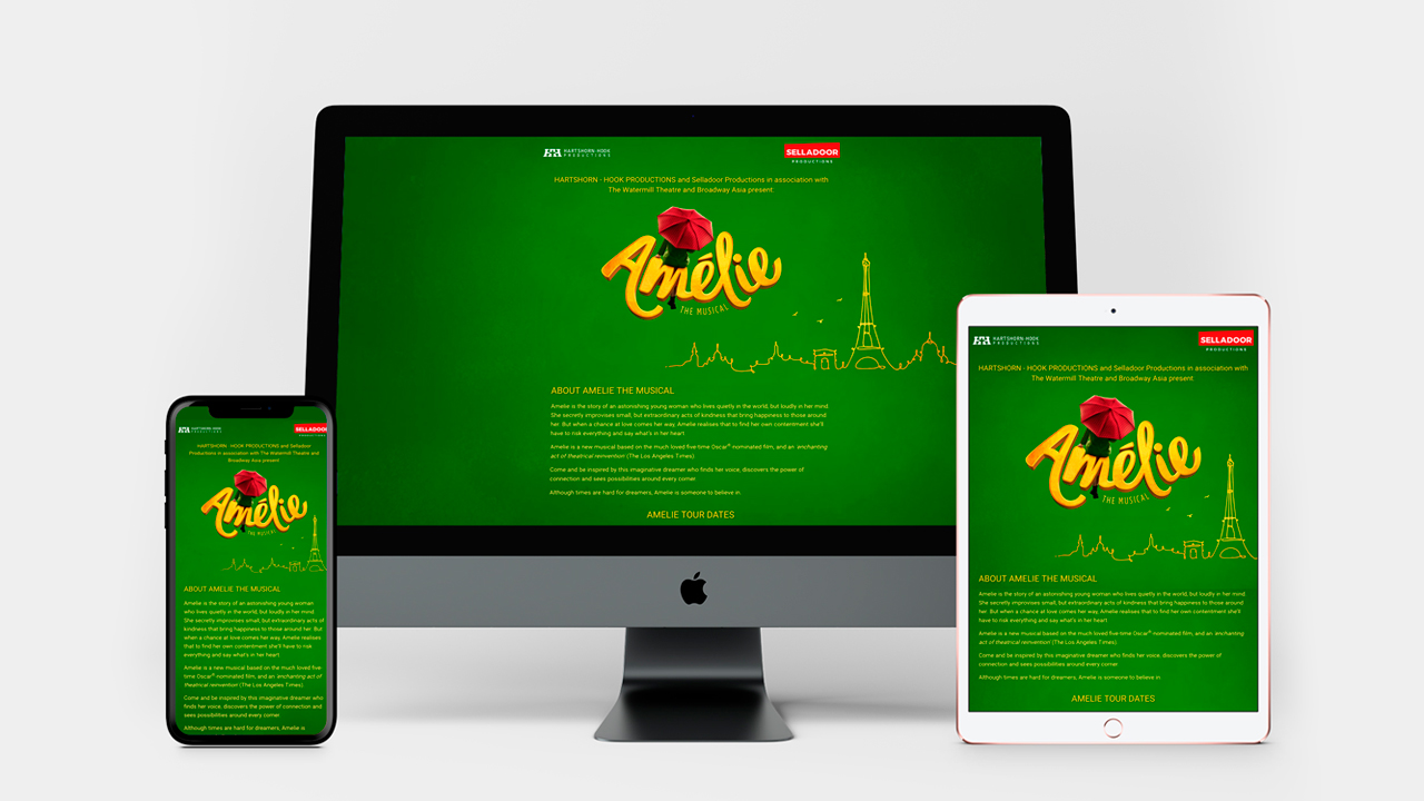 Amelie The Musical website device screenshots