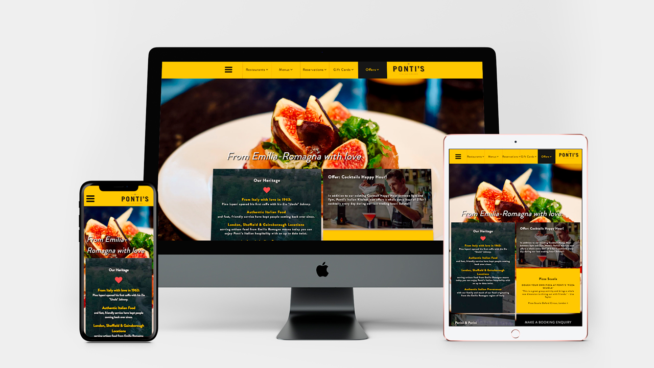 Ponti's Italian Kitchen website device screen demos
