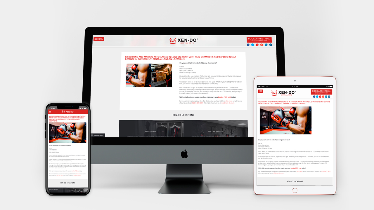 Xen-Do Kickboxing & Martial Arts website device screen demos