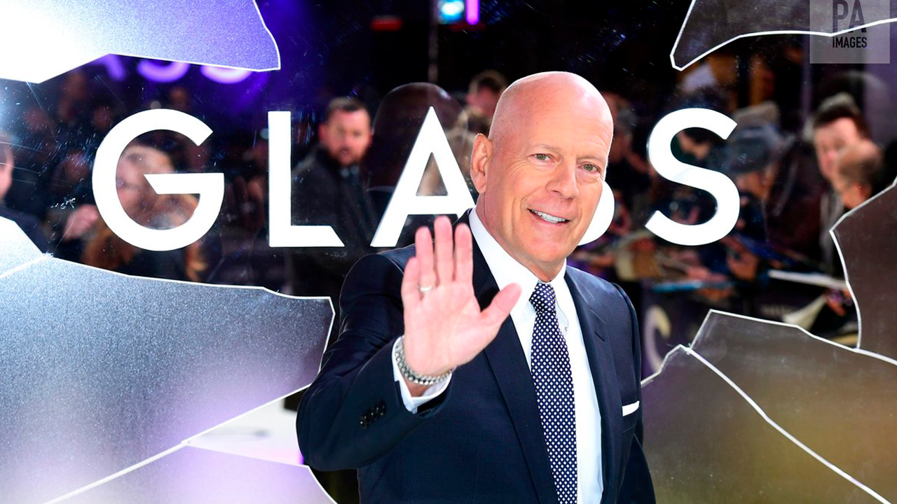 Glass film production shot with Bruce Willis