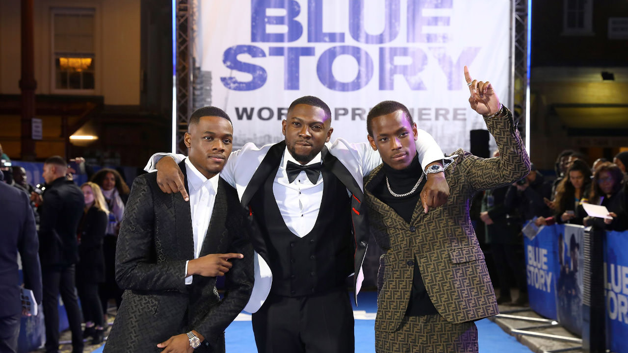 Actors on the blue carpet for the Blue Story premiere