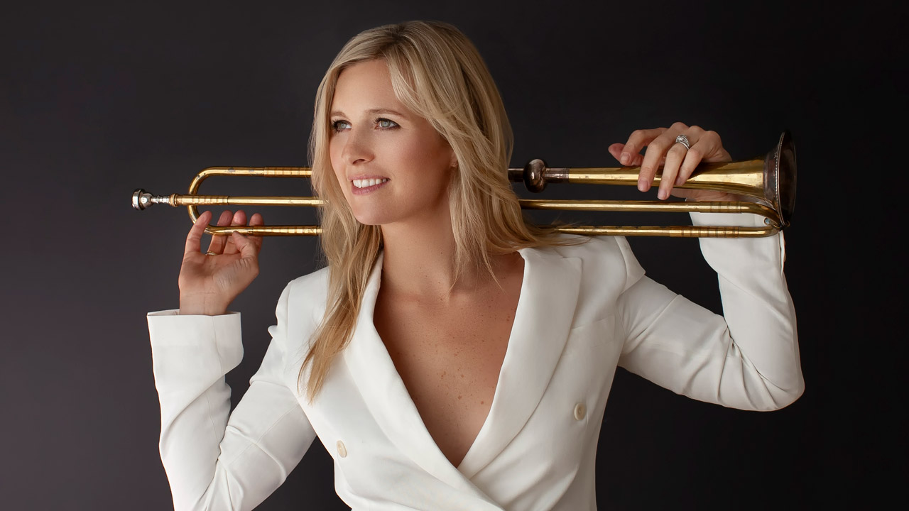 Alison Balsom holding a trumbone