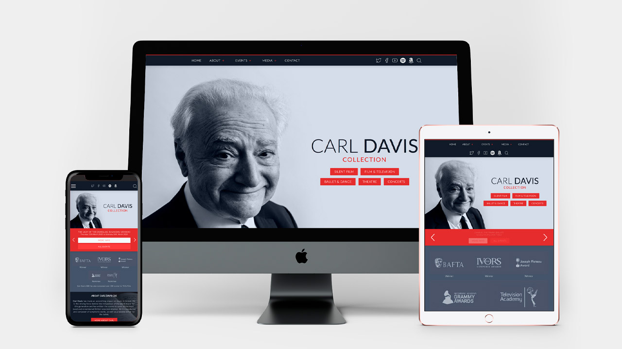 Carl Davis Collection website devices montage