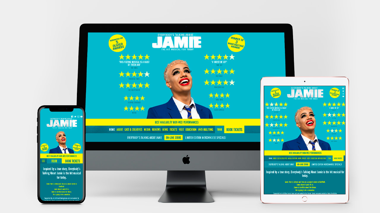 Everybody's Talking About Jamie website multiple devices views