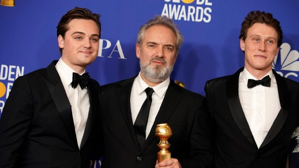 Sam Mendes, George MacKay and Dean-Charles Chapman at the Golden Globe awards 2020