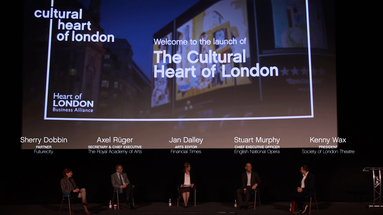 The Cultural Heart of London stage view with presenters